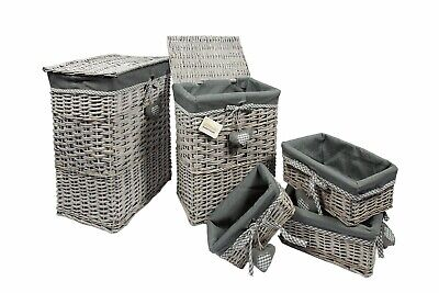 Woodluv Grey Wicker Laundry Storage Basket Bin Clothes Gift Hamper Basket • 16.99£