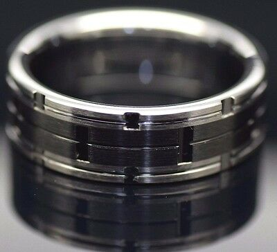 $48.59 • Buy Mens Tungsten Carbide Combination Ring Brushed With Black Ceramic Inlay Wedding