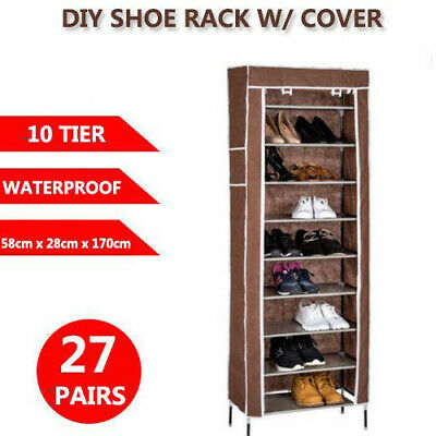 AU20.59 • Buy 10 Tier 27 Pairs Shoe Rack Cabinet Storage Organiser Stand With Cover AU Seller