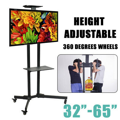 AU128.86 • Buy LED PLASMA LCD TV STAND MOUNT BRACKET MOBILE TROLLEY WITH WHEELS 32 To 65  Black