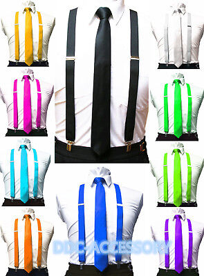 $6.95 • Buy  Mens Ties Skinny Tie And Suspenders Set Men's Clip-on Back Longer Necktie Prom