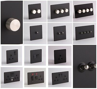 £16.99 • Buy DESIGNER SOCKETS AND SWITCHES - Black And Silver