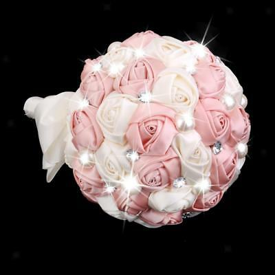Wedding Bouquet Bridal Bridesmaid Artificial Flower Rose Posy Ivory + Pink • 21.35£