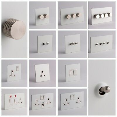 £16.99 • Buy DESIGNER SOCKETS AND SWITCHES - White And Silver
