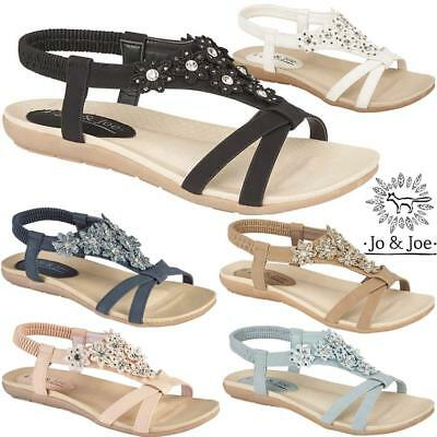 Ladies Wedge Sandals Womens Strappy Heels Summer Evening Gladiator Flat Shoes • 13.95£