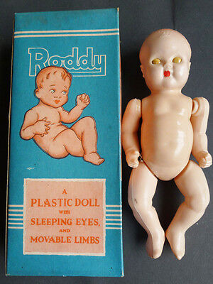 1950s BRITISH MADE Moveable RODDY DOLL In Original Box • 14£