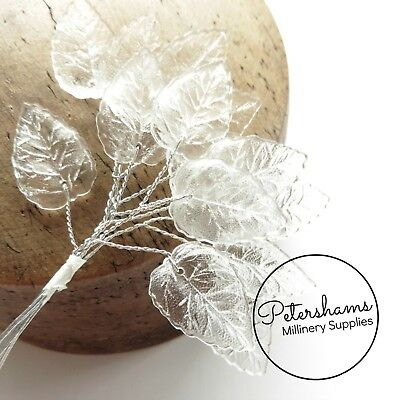 £4 • Buy 15 Translucent Mini Wired Plastic Leaves For Millinery, Tiara Making - 5 Stems