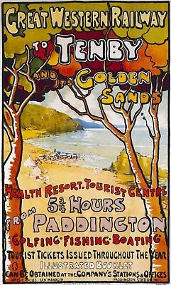 £2.98 • Buy Vintage Tenby Gwr Great Western Railway Travel A4 Poster Print