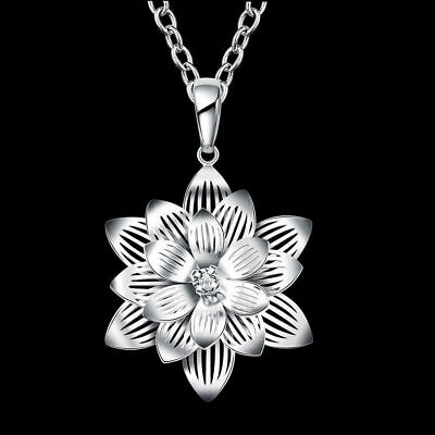 $ CDN7.88 • Buy Lotus Flower 925 Sterling Silver Pendant Necklace Choker Women Grilfriend Gift
