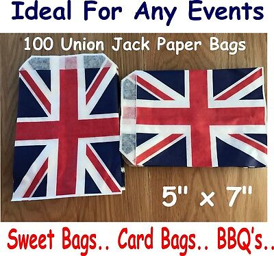 £3.69 • Buy 100 Union Jack Paper Bags, Gift Bags, Sweet Bags, BBQ, Great British Events,