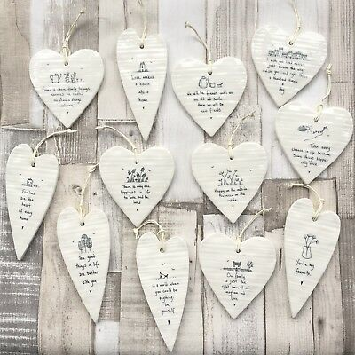 East Of India Hanging Porcelain Wobbly Hearts Inspirational Gift Decor  • 5.75£