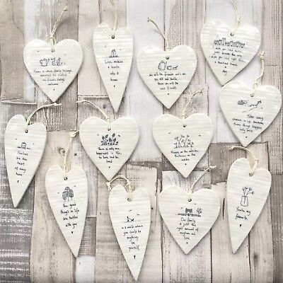 East Of India Hanging White Porcelain Wobbly Hearts Inspirational Gift  • 5.95£