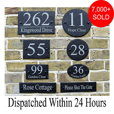 Rustic Slate House Gate Sign Plaque Door Number Personalised Name Plate • 6.98£