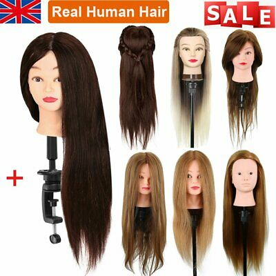 Salon Real Human Hair Training Head Hairdressing Styling Mannequin Doll + Clamp • 14.99£
