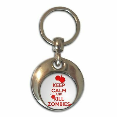 £3.99 • Buy Keep Calm And Kill Zombies - Chrome Round Double Sided Key Ring New
