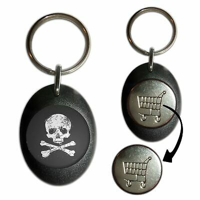 Distressed Skull & Crossbones Plastic Shopping Trolley Coin Key Ring Choice New • 3.99£