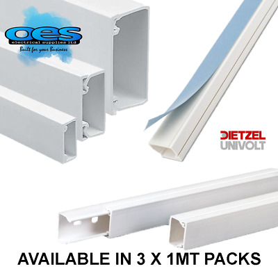 £8.75 • Buy Self Adhesive Mini Trunking Multi Size 1M 2M 3M White Electrical PVC Cable Tidy