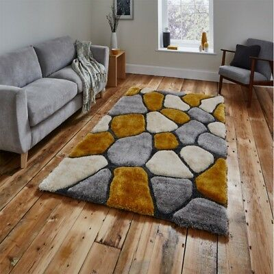 £99 • Buy Think Rugs Nh5858 Grey Yellow 120x170 150x230 Pebble Thick Shaggy Noble House