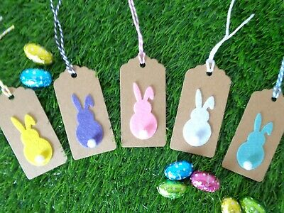 Easter Bunny Gift Tags Cute Kraft Labels 9x4.5cm Colour Ties 3,5 Or 10 Gift Wrap • 1.75£