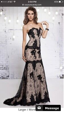 $ CDN235.31 • Buy MNM Couture Evening Dress Gown Size 2 Black Lace Beads Crystal Strapless Mermaid