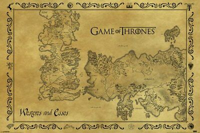 £10.34 • Buy Game Of Thrones Westeros And Essos Detailed Map Medieval Fantasy Book/TV Series