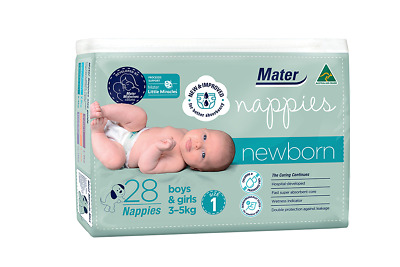 AU13.99 • Buy Mater Nappies Newborn Size 1, 3-5kg Australian Made, Hospital-developed, 28 Pack