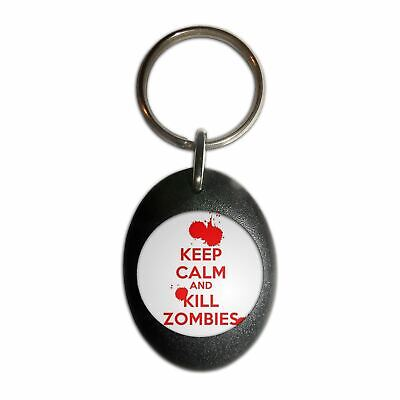 £3.99 • Buy Keep Calm And Kill Zombies - Plastic Oval Key Ring Colour Choice New