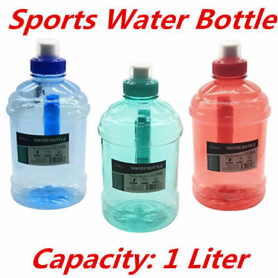 AU14.95 • Buy 1l 2l Litre Liter Bpa Free Sports Water Bottle Handle Gym Bike Training Drink Du