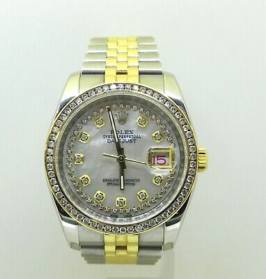 $ CDN12094.89 • Buy Rolex DateJust 116233 Amazing M.O.P. Diaomnd Dial And Diamond Bezel, Box & Paper