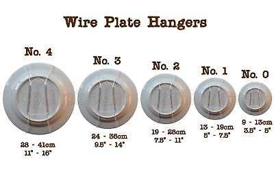 £2.20 • Buy Wall Display Plate Dish White Wire Spring Hanger Holder Hangers Mount  0 1 2 3 4