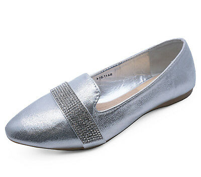 £8.95 • Buy Womens Flat Silver Slip-on Wedding Bridal Comfy Loafer Party Ballet Shoes Uk 3-8
