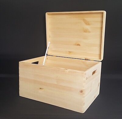 Large Wooden Boxes Plain Wood Storage Box Chest Lid Handle Keepsake Trunk Hinges • 8.99£