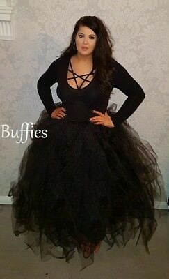 Long Tutu Black Witch Fancy Dress Vixen Vampire Gothic Wedding Size 8-22 • 30£