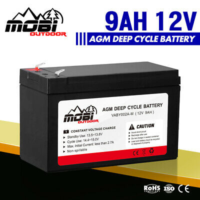 AU25.99 • Buy MOBI 12V 9AH AGM Deep Cycle Battery 4X4 4WD Electric Portable Power Bank