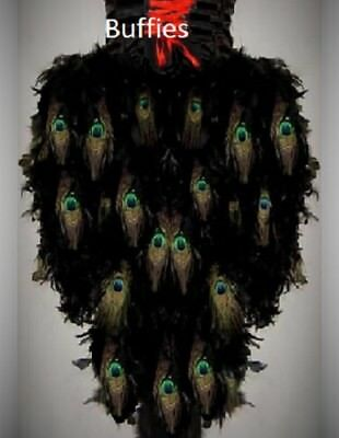 NEW! Ladies Short Peacock Feather Tail Gothic Burlesque Dancers Black Bustle  • 20£