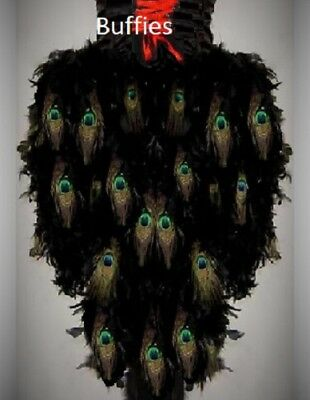 Ladies Long Peacock Feather Tail Gothic Steampunk Burlesque Bustle Plus Sizes • 80£