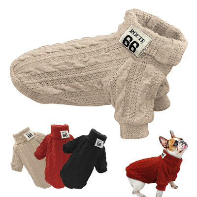 £5.45 • Buy Dog Knitted Jumper Knitwear Chihuahua Clothes Warm Pet Puppy Sweater Red Black
