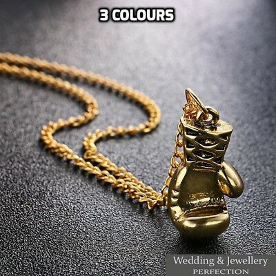 Mens Boxing Glove Pendant Necklace Chain Steel Charm Silver Gold Rocky Men Gift • 6.95£