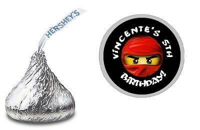 $6.29 • Buy 108 Lego Ninjago Personalized Hershey Kiss Labels Stickers Birthday Party Favors