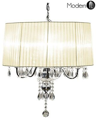 £148.90 • Buy 5 Light Crystal Droplet Chandelier With Cream Shade, Large Crystal Ceiling Light