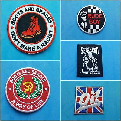Collection Of Five Individual Sew On / Iron On Patches:- Boots & Braces Skinhead • 12.95£