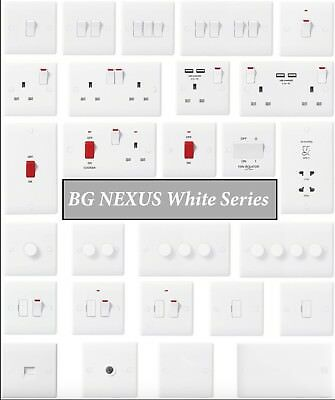 BG Nexus White Moulded Switches & Sockets Round / Curved Edges - Complete Range • 5.99£