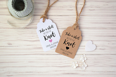 Take A Shot, We Tied The Knot, Personalised Wedding Favour Drink Tags With Twine • 2.50£