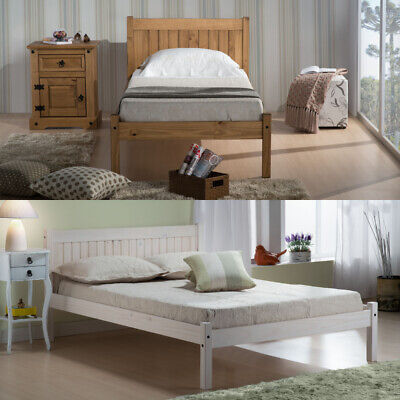 £139.99 • Buy Low Foot End Bed, Rio Pine Or White Wooden Bed 3 Size And 4 Mattress Options