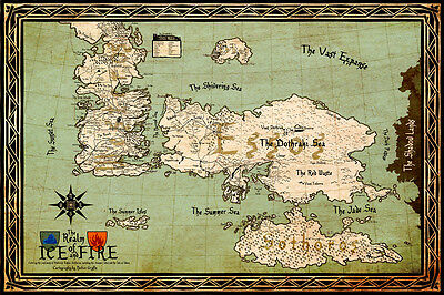 £2.99 • Buy Game Of Thrones Poster Printing 40x60cm Ice And Fire Westeros MAP