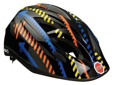 AGU TRAFFIC BOYS GIRLS KIDS SAFETY CRASH HELMET IN-MOLD 52-57cm & STICKERS BLACK • 12.97£
