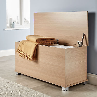 £41.99 • Buy Ottoman Storage Chest Oak Toy Chest Bedding Or Blanket Box Large Wooden New