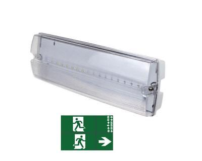 Led Emergency Light Bulkhead Exit Sign Ip65 3watt Maintained Or Non Maintained  • 14.99£