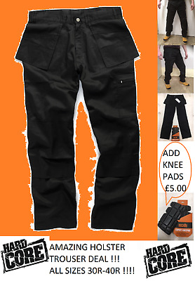 Hard Core Tough Grit Work Trousers Black Cargo Style Holster Pockets Knee Pkt  • 9.99£