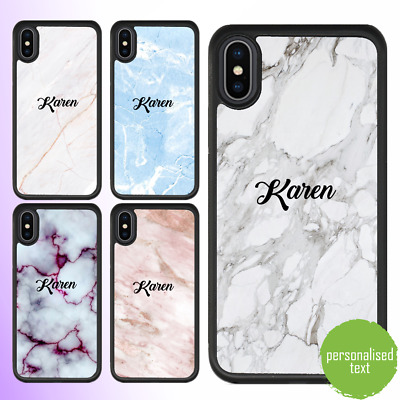 AU11.99 • Buy IPhone 12 11 Pro Max SE 8 7 Case Marble Personalised Text Initial Custom Name 1